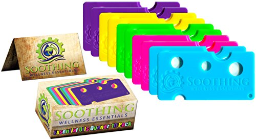 Soothing Wellness Essentials 10 PACK Essential Oils Opener Key Tool Set (MULTI-COLORED) - The Perfect Opener and Remover Accessory for Roller Balls and Caps on Most Bottles