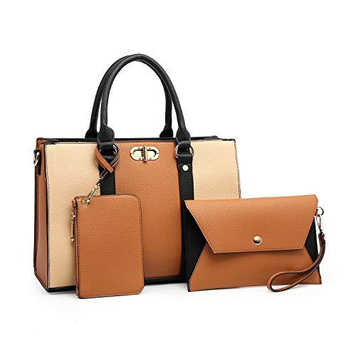 MMK Fashion Designer women's Handbag~Stylish vegan Leather for Ladies Satchel Tote shoulder purse bag (E-8010-(BR/BG))