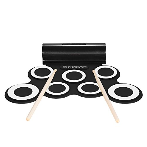 Wallmeck Electronic Drum Set Kit 7 Silicon Pads Built-in Speaker USB Powered with Drumsticks Foot Pedals 3.5mm Audio Cable for Practice Beginners Kids by Walmeck