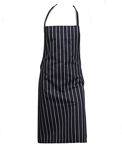 Professional 100% Cotton Woven Stripe Butchers Kitchen Cooks Apron Navy Blue (Single Apron)
