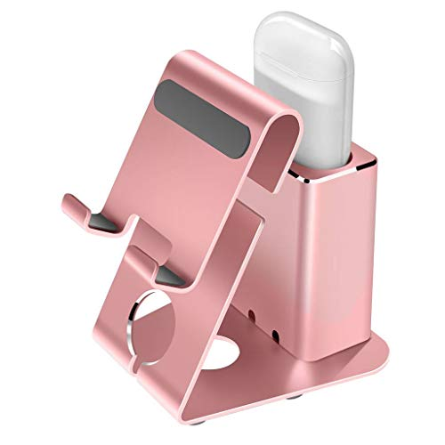 Apple Airpods Charger Charging Station, Holder-Mate 2 in 1 Aluminum Docking Station Stand for Airpods/iPhone Xs Max/XS/XR/X/8/8 Plus/7/7 Plus/6S/6/6 Plus and All Android Smart Phones-Rose Gold