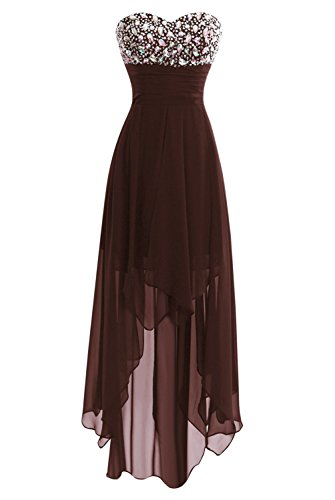 Women's Long Chiffon Hi-Low Bridesmaid Prom Gown Evening Party Dresses Chocolate US4