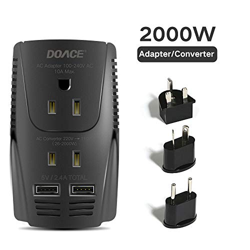 DOACE 2000W Voltage Converter for Hair Dryer Straightener Curling Iron, Step Down 220V to 110V Power Converter, Dual USB for Cell Phone, Laptop, Travel Adapter for UK/AU/US/EU Over 190 Countries (Best Travel Hair Dryer Australia)