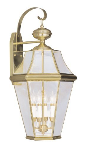 Livex Lighting 2366-02 Georgetown 4-Light Outdoor Wall Lantern, Polished Brass (02 Georgetown Outdoor Light)