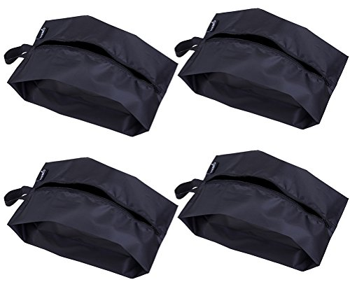 MISSLO Portable Nylon Travel Shoe Bags with Zipper Closure (Pack 4, Black)