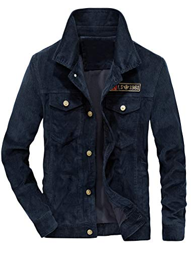 Lavnis Men's Corduroy Trucker Jacket Casual Stand Collar Button Down Fleece Denim Jacket Thin Style Blue S