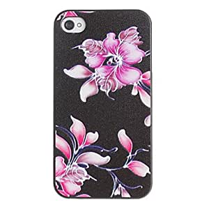 JJEWeird Rose Flowers Pattern PC Hard Case with Black Frame for iPhone 4/4S