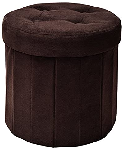 The FHE Group Round Folding Storage Ottoman, 15 by 15 by 15-Inch, Chocolate Suede (Brown Ottoman Round)