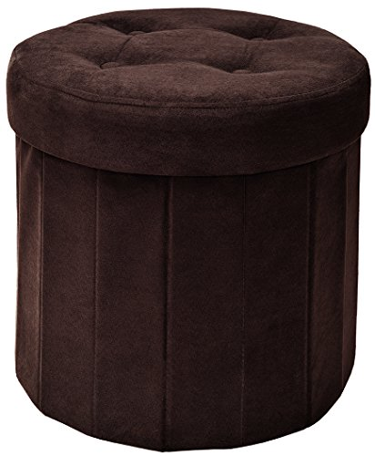 Fresh Home Elements 250053-026 Round Storage Ottoman, 15 by 15 by 15-Inch, Brown Microsuede