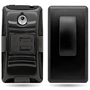 CoverON® Hybrid Heavy Duty Case with Hard Kickstand Belt Clip Holster for HTC 8XT - Black