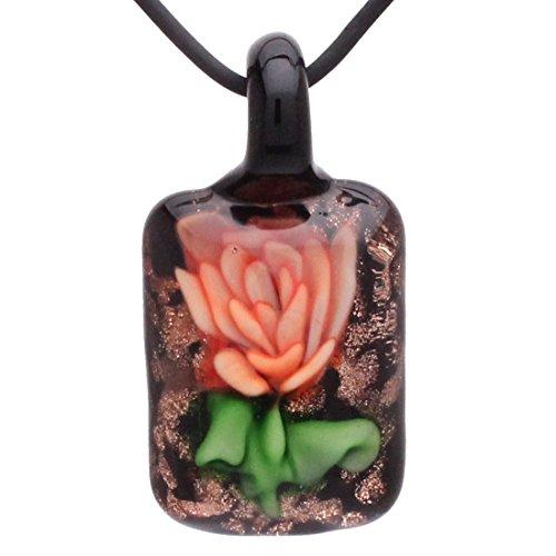 Glass Orange Pendant Murano (Bleek2sheek Murano-inspired Glass Fire Orange Rose Flower Rectangle Pendant Necklace)