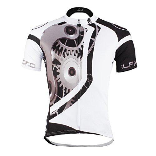 Paladin Men's Mechanical Pattern Bike Shirt Short Sleeve Cycling Jersey Size XXXL White