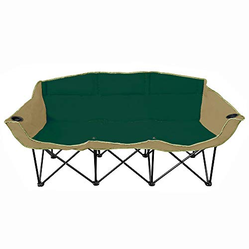GoTEAM! 3 Seat Portable Folding Bench/Couch - Green/Beige