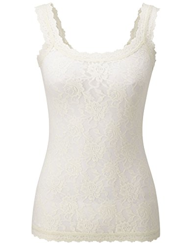 Lace Camisole Ivory - Hanky Panky Women's Signature Lace Unlined Cami Ivory Tank Top MD