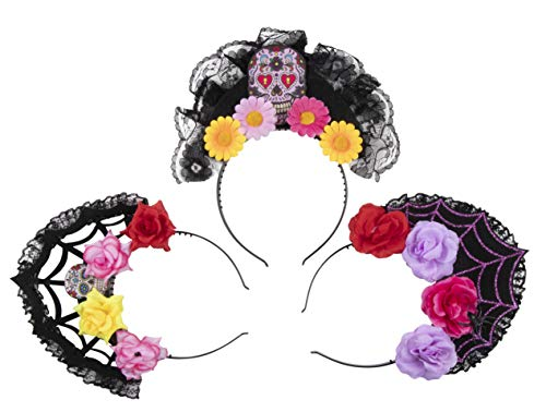 Day of The Dead Headbands - 3-Pack Skull Spider Web Head Band, Black Lace Crown Assorted Designs