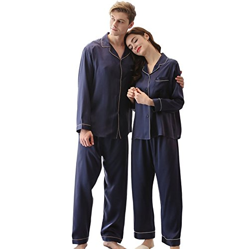 Relyher Mulberry Silk Pajama Set for Couples Long Sleeve PJ Good Gift for The Other Half of You (M(women), Navy blue) by Relyher