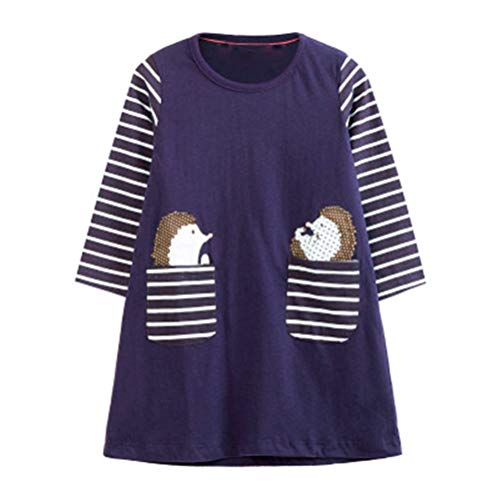 HILEELANG Toddler Girl Dress Stripe Long Sleeve Autumn Winter Cotton Basic Top for Legging