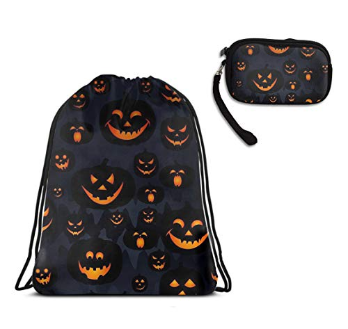 YongColer Drawstring Bag Backpack Sackpack Cinch Tote Bag & Purse Wallet Cellphone Cosmetic Pouch for Travel Picnic Gym Sport Beach 2 Pieces Set (Halloween Pumpkin Patterns)]()