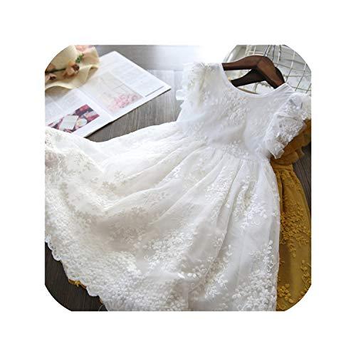 Children Formal Kids Fluffy Cake Smash Dress Girls for Christmas Halloween Birthday Costume,White,6 ()
