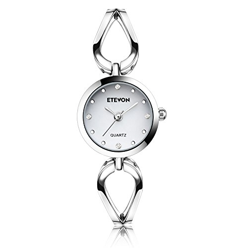 ETEVON Women's Quartz Silver Wrist Watch with Small Crystal Dial and Hollow Bracelet Water Resistant, Casual Simple Dress Watches for Women (Quartz Bangle Bracelet Watch)