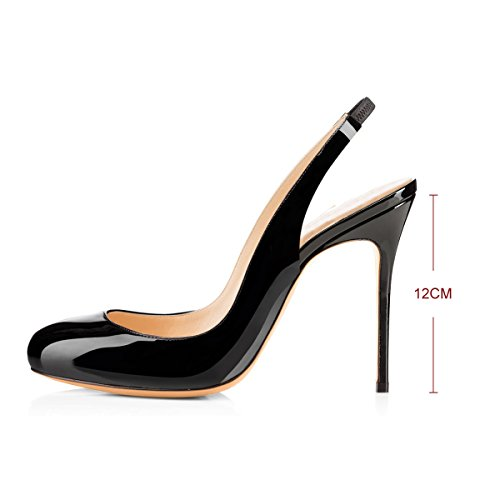 High Sexy Fashion Stiletto Shoes Round Slingback Black Fashion Hot Heel New Women Multicolor 1ZqFw