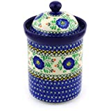 Polish Pottery Jar with Lid 9-inch Cobalt Poppies UNIKAT