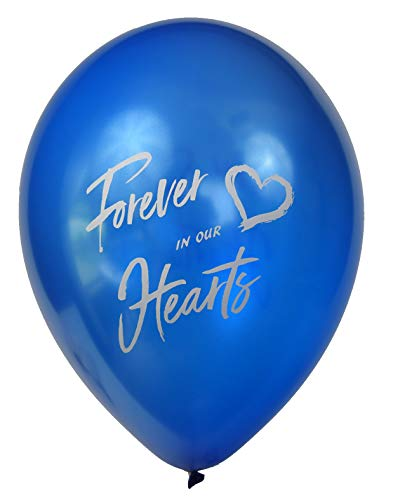 Forever in Our Hearts Memorial Balloons: 25-Pack Release Balloons Set| Biodegradable Helium Balloons for Memory Table Décor & Anniversary| Celebration Balloons (Blue Pearl) ()