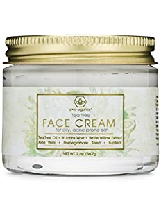Tea Tree Oil Face Cream - For Oily, Acne Prone Skin 2oz Natural & Organic Facial Moisturizer with 7X Ingredients For Rosacea, Cystic Acne, Blackheads & Redness from Era Organics