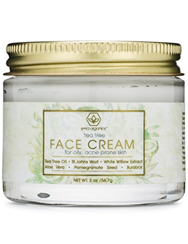 (Tea Tree Oil Face Cream - For Oily, Acne Prone Skin Natural & Organic Facial Moisturizer with 7X Ingredients For Rosacea, Cystic Acne, Blackheads & Redness 2oz Era-Organics)