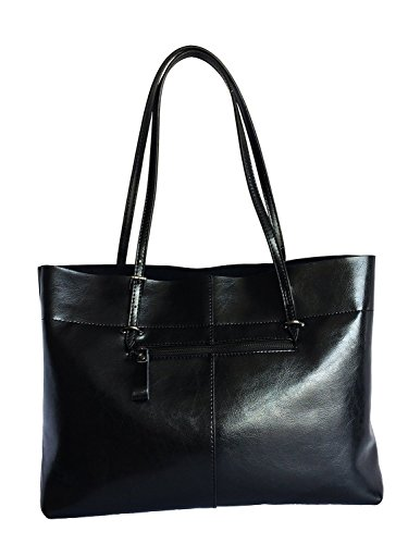 Bag Black Tote Shoulder Leather Vintage Genuine Panlom® Women's Handbag pYCqFwFO