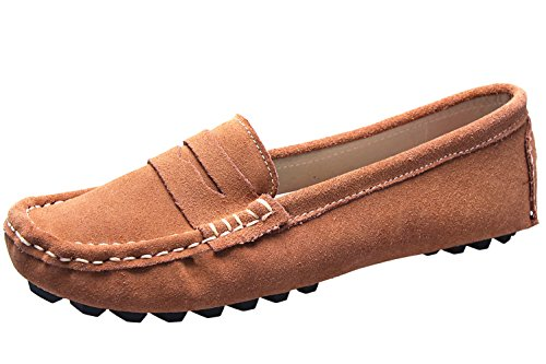 Dress Driving Anlamb Shoes Suede On Slip Womens Loafters Flats Khaki Moccasins Boat xZtHq6wt