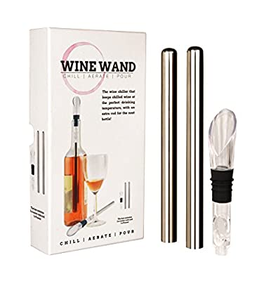 Wine Wand - the ultimate wine cooler, chiller, aerator accessory - 2 cooling / chilling wands, an aerator/pourer in each pack - wine can breathe , white, rose, red, champagne, cava, prosecco.