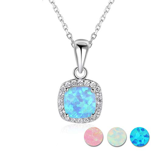 (Classic Square White Pink Blue Opal Necklaces & Pendants Zirconia 925 Sterling Silver Necklace Gift For Women () White)