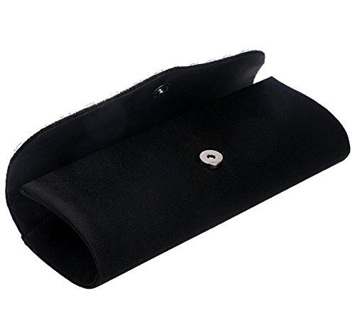 Handbags Bag Rhinestones Clutches Pleated Evening Cross Women's Body Black Purse SqpF0nHHxw