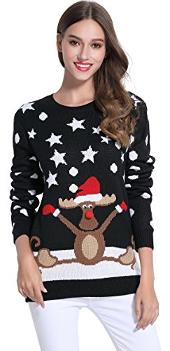 *daisysboutique* Women's Christmas Cute Reindeer Knitted Sweater Girl Pullover (XX Large, Skiing) (Sweater Reindeer)