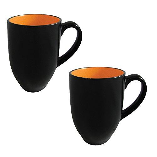 Coffee Mug Set of 2 - Barrel Mug and Tea Cup 8 Ounce Ceramic Stoneware Matte Black Finish (Orange)