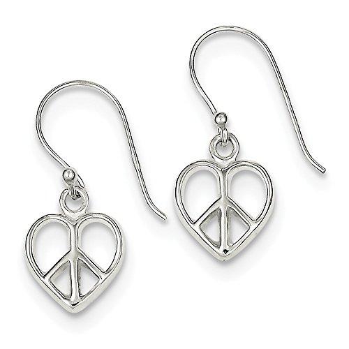 Heart Peace Necklace Sign (925 Sterling Silver Peace Sign Heart Shepherd Hook Earrings (24mm x 10mm))