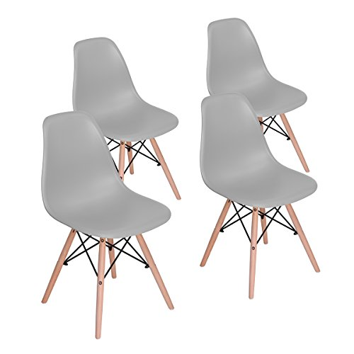 HOMY CASA Dining Chair Mid Century Modern Style Eames Dining Chair Seat Height Natural Wood Legs Armless Chairs for Kitchen, Dining, Bedroom, Living Room Set of 4 (GREY)