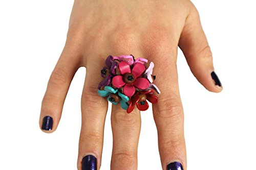 Gems Couture Jewelry Leather & Coconut Wood Flower Bloom Ring (Couture Gem)