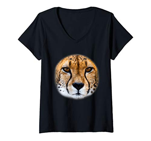 Womens Realistic Cheetah Face Costume Cool Easy Halloween Gift V-Neck