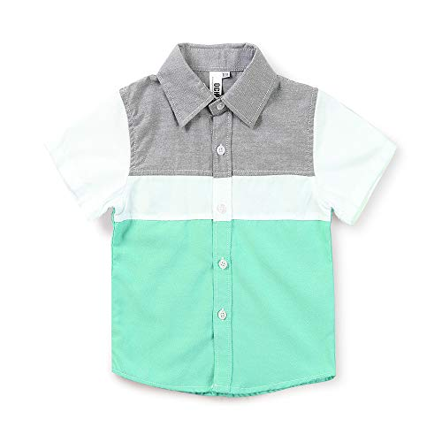 Little Big Boys' Short Sleeve Button Down Shirt Casual Dress Tops 0703 Green Tag 130CM - 6-7 Years ()