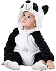 MICHLEY Unisex Baby Hooded Romper Winter Flannel Animal Cosplay Clothes