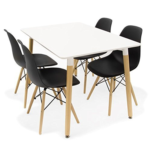 Noorsk Conjunto de Mesa 120 + 4 sillas Tower Negras: Amazon.es: Hogar
