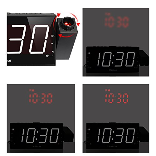 upgraded version mesqool am fm digital dimmable projection alarm clock radio with 7 led. Black Bedroom Furniture Sets. Home Design Ideas