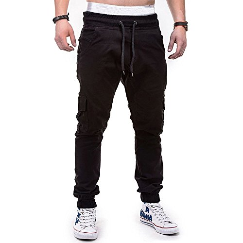 WOCACHI Men's Jogger Pants Sport Pure Color Bandage Casual Loose Sweatpants Drawstring Pant Multi Pocket Cargo Trousers Under 10 Dollars Free Delivery Summer Fashion Deals