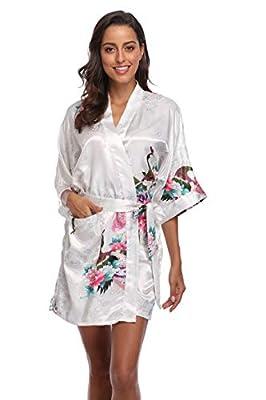 CostumeDeals KimonoDeals Women's Soft Kimono Robe,with Pockets- Peacock & Blossom,Short