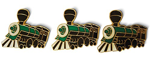 3-Piece Steam Engine Train Lapel Pin Hat Pin & Tie Tack Set with Clutch Back by Novel Merk