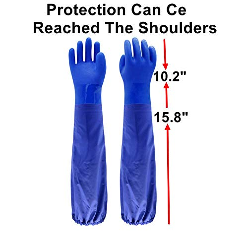 """Insulated & Waterproof PVC Coated Glove with Cotton liner, Heavy Duty Latex Gloves, Resist Acid, Alkali and Oil,Fishery, Machinery, Chemical industry-26"""" by PinkSally (Image #1)"""