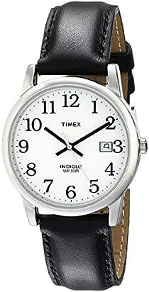 Timex Men's T2H281 Easy Reader Black Leather Strap Watch