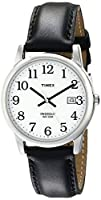 Timex Men's T2H281 Easy Reader Black Leather Strap Watch